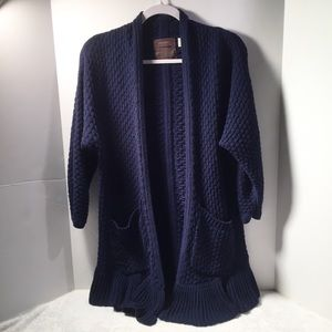 Guinevere Anthro Navy Knit Cardigan Sweater